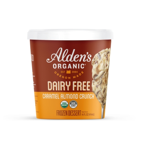 Alden's Organic caramel frozen dessert with sweet organic caramel swirl, chocolate flakes and crunchy almonds. (Photo: Business Wire)