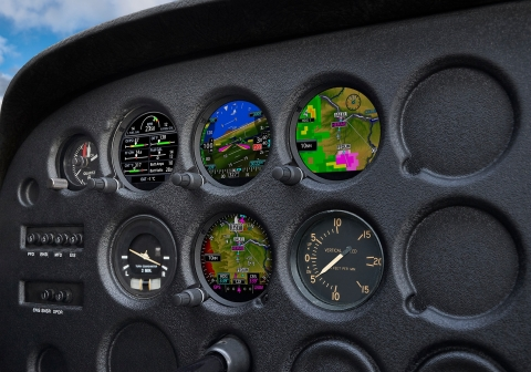 Four GI 275 electronic flight instruments installed in the panel of a Cessna 172. (Photo: Business Wire)