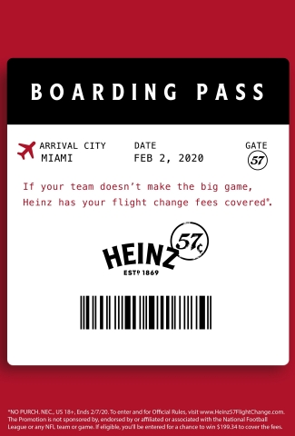 To reassure fans that even in the bleakest moments not all hope is lost, HEINZ is offering football fans a chance to win 57-cent change fees for Miami-bound flights. (Photo: Business Wire)