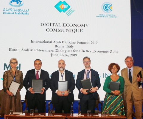 The European Banking Federation (EBF), the Union of Arab Banks (UAB), and international associations signed a Digital Economy Communique with the Global Coalition for Efficient Logistics (GCEL) at the 2019 International Banking Summit. (Photo: Business Wire)