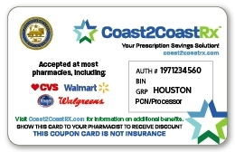 Illustration of Coast2CoastRX prescription coupon card being distributed to the City of Houston residents. (Photo: Business Wire)