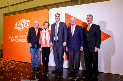 Oklahoma State University alumni and donors Larry and Kayleen Ferguson with Oklahoma Governor Kevin Stitt, Oklahoma State President Burns Hargis and Oklahoma State Vice President and Dean of the College of Agriculture Tom Coon (Photo: Business Wire)