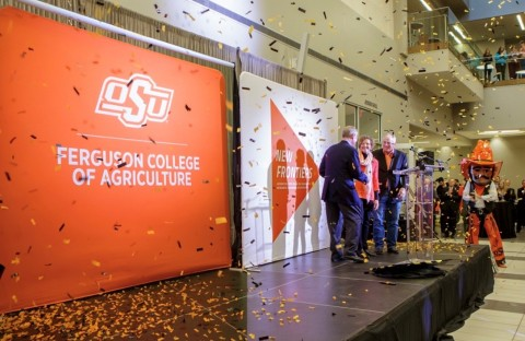 As confetti flies, Larry and Kayleen Ferguson and OSU President Burns Hargis celebrate the unveiling of the newly renamed OSU Ferguson College of Agriculture Wednesday, January 15, 2020 at Oklahoma State University. (Photo: Business Wire)