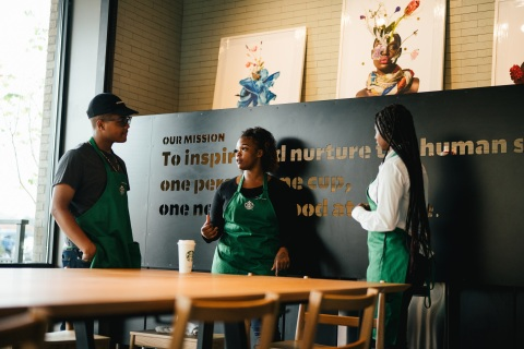 As part of the company's expanded national partnership with United Way, Starbucks Community Store partners (employees) will work with their local United Way chapter to provide relevant resources and programs for their neighborhood using the store's community space. (Photo: Business Wire)