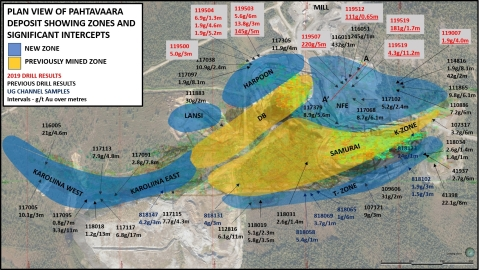 Plan view showing mineralised zones and location of new drilling at the Pahtavaara mine (Photo: Business Wire)