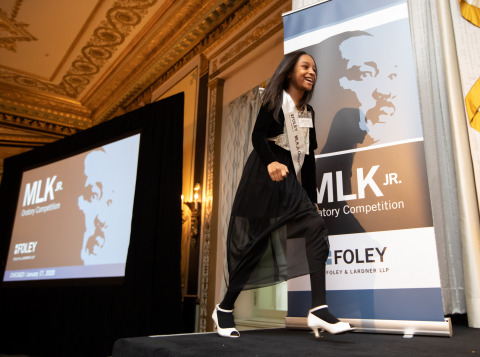 Mia Roberts, a fourth-grade student from Arthur Dixon Elementary in Chicago, takes the stage after being announced as the winner of the Foley & Lardner MLK Jr. Oratory Competition, held Jan. 17, 2020 at the Palmer House Hilton. Her speech broke down Dr. King's vision for 2020 with 10 simple tips for younger generations. (Photo Credit: Anneryanphoto.com)