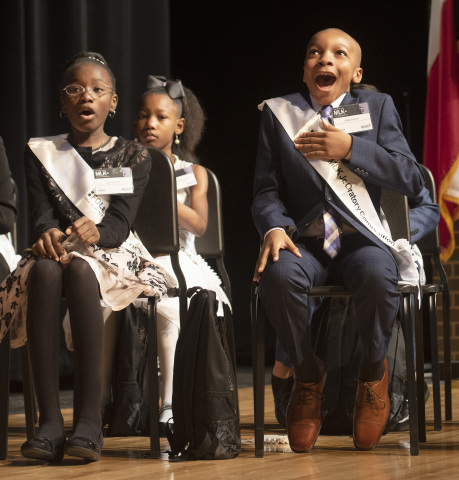 "Colin Harris, a fifth-grade student from J.P. Starks Math, Science and Technology Vanguard in Dallas, won first place in the 28th Annual Foley & Lardner MLK Jr. Oratory Competition, held Jan. 17, 2020 at W.H. Adamson High School. Colin relayed Dr. King's vision ""to love one another."" (Photo Credit: Rex Curry)"