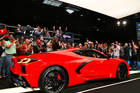 2020 Chevrolet Stingray VIN 001 (Lot #3007) sold for $3 million during the Barrett-Jackson Scottsdale Auction (Photo: Business Wire)