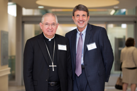 Children's Hospital Los Angeles President and CEO Paul S. Viviano with Jose H. Gomez, Archbishop of Los Angeles, at the dedication of The Thomas and Dorothy Leavey Foundation Interfaith Center at CHLA. Viviano and five other lay Angelenos will be honored at the 2020 Cardinal's Awards Dinner Feb. 29. (Photo: Business Wire)
