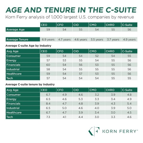 Age and Tenure in the C-Suite: Korn Ferry Study Reveals Trends by Title and Industry (Graphic: Business Wire)