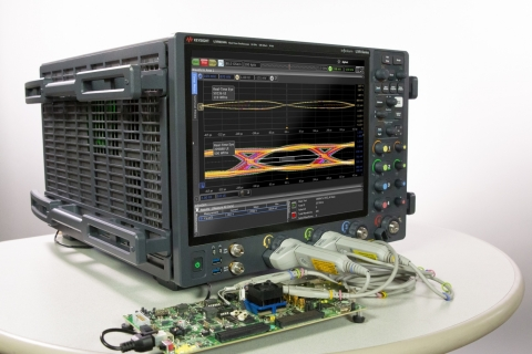 Ultra-low noise UXR0204A Real-time Oscilloscope for Transmitter Test, debug and Receiver stressed-eye calibration (Photo: Business Wire)