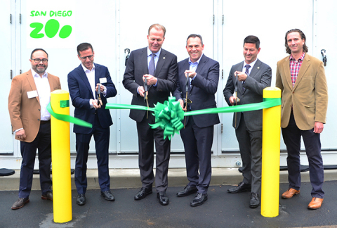 San Diego Zoo and EDF Renewables cut the ribbon on the Zoo's battery storage. (l-r) Alex Martinez, EDFR, Raphael Declercq, EDFR, San Diego Mayor Kevin Faulconer, Paul Baribault, San Diego Zoo, Chris Ward, Councilmember District 3, Michael Robinson, EDFR (Photo: Business Wire)