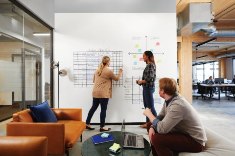 Post-it Flex Write Surface provides the flexibility to write with both permanent and dry erase markers and wipe clean using only water. (Photo: Business Wire)