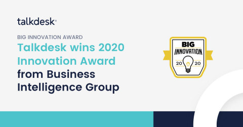 Talkdesk iQ secures 2020 BIG Innovation Award with a cloud contact center platform infused with artificial intelligence. (Graphic: Business Wire)