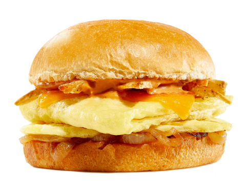 The new folded JUST Egg on a brioche bun with breakfast potatoes and caramelized onions. (Photo: Business Wire)