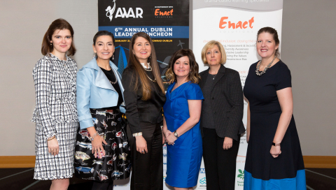 AWAR held the 6th Annual AWAR Dublin Leaders Luncheon on January 21, 2020 at the Conrad Dublin in conjunction with the Airline Economics Growth Frontiers and Airfinance Journal Dublin 2020 aviation finance conferences. Pictured at the event (L to R): Dana A. Barta, Executive Director, Head of Aviation Finance Team, Global Capital Markets, Morgan Stanley and AWAR Co-Founder & Treasurer; Amelia Anderson, AWAR Co-founder & President; Irena Badelska, AWAR Board Member; Joey Johnsen, CEO, Zeevo Group LLC and AWAR Board Member; Kathleen Murphy, Senior Vice President, Marketing, Avolon and AWAR Secretary; and Murrae Ross-Eskell, Founder and Managing Director, Horizon Executive Search International Limited and AWAR Board Member (Photo: Business Wire)