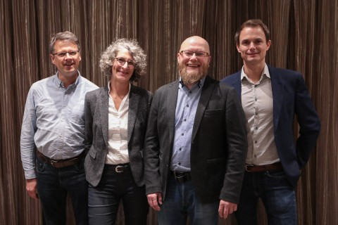 eZ Systems acquires e-commerce software from silver.solutions: (from left to right) Frank Dege CTO silver.solutions, Ania Hentz, CEO, silver.solutions, Morten Ingebrigtsen Co-CEO eZ Systems, Bertrand Maugain Co-CEO eZ Systems (Photo: Business Wire)