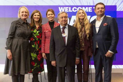 Left to Right: Julie Sweet, CEO of Accenture; Jennifer Morgan, co-CEO of SAP; Lise Kingo, CEO and Executive Director of the UN Global Compact; António Gutteres, Secretary-General of the United Nations; Ann Rosenberg, SVP for UN Partnerships at SAP and Peter Lacy, Senior Managing Director and WEF relationship leader at Accenture. (Photo: Business Wire)