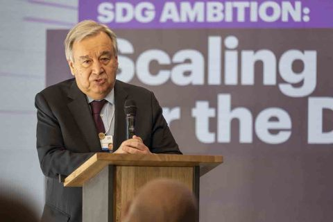 António Gutteres, Secretary-General of the United Nations, speaking at the launch of SDG Ambition at the World Economic Forum 2020 (Photo: Business Wire)