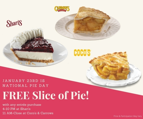 Shari's, Coco's and Carrows Restaurants Celebrate National Pie Day. (Photo: Business Wire)