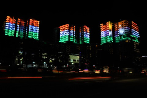 Embassy pays a tribute on Republic Day by lighting Embassy Lake Terraces in the Indian Tricolour (Photo: Business Wire)
