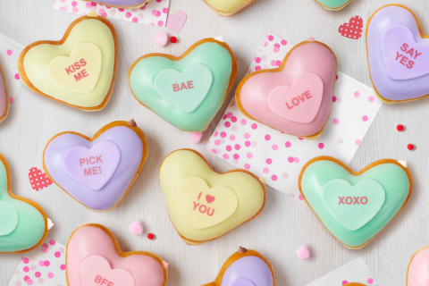Doughnut Messages are the new DM: 24 heart-shaped doughnuts available through Valentine's Day literally help put the right words into your mouth (Photo: Business Wire)