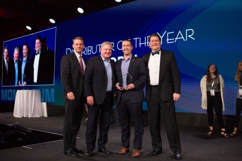 FireEye recognizes partners at a Momentum awards ceremony. Pictured here, Carahsoft wins 2019 Distributor of the Year (Photo: Business Wire)