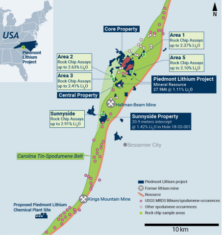 Figure 1 - TSB Map showing Piedmont MRE, New Pegmatite Discoveries, and Historical Mines and Data (Graphic: Business Wire)