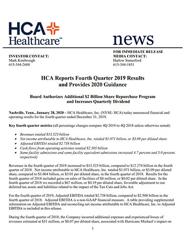 Printer Friendly Version - HCA Reports 4Q Earnings