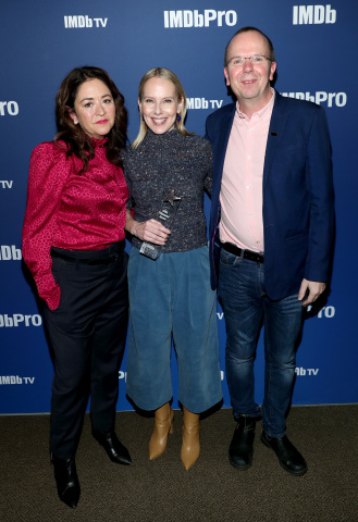 PARK CITY, UTAH - JANUARY 27: 'Lost Girls' director Liz Garbus (L) and IMDb Founder & CEO Col Needham (R) present an IMDb STARmeter Award to Amy Ryan of 'Lost Girls' (C) at IMDb's 30th Anniversary Dinner at The Sundance Film Festival on January 27, 2020 in Park City, Utah. (Photo by Rich Polk/Getty Images for IMDb)