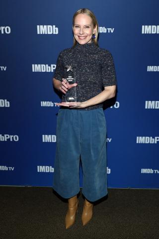 PARK CITY, UTAH - JANUARY 27: Amy Ryan of 'Lost Girls' receives an IMDb STARmeter Award at IMDb's 30th Anniversary Dinner at the Sundance Film Festival on January 27, 2020 in Park City, Utah. (Photo by Rich Polk/Getty Images for IMDb)