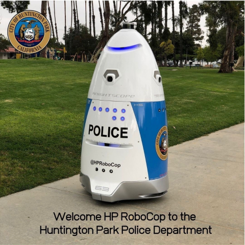 The City of Huntington Park Police Department welcomes its first Autonomous Security Robot (ASR) to Salt Lake Park. (Photo: Business Wire)