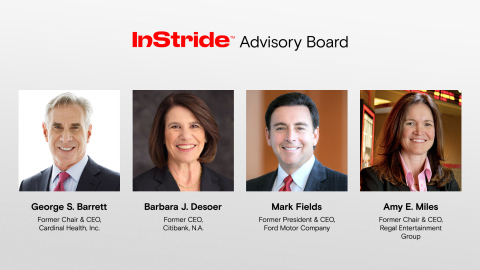 George Barrett, Barbara Desoer, Mark Fields and Amy Miles join InStride's Advisory Board (Photo: Business Wire)