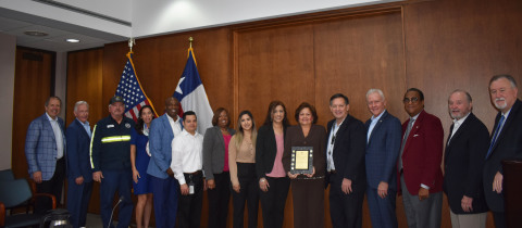 The Government Finance Officers Association awarded Port Houston its 45th consecutive Certificate of Achievement for Excellence in Financial Reporting for the 2018 Comprehensive Annual Financial Report (CAFR). Members of the Port Houston Finance team and Port Houston employee RTG Crane Foreman Quintin Reynolds, recognized for 45 years of service, pose with the Port Commission. From far left: Port Chairman Ric Campo, Commissioner Clyde Fitzgerald, Quintin Reynolds, Commissioner Wendolyn Montoya Cloonan; Controller Curtis Duncan; Juan Rodriguez; Marilyn Bundage; Magda Salinas; Patricia Borjas; Yolanda Ramirez; Larry Bischof; and Commissioners Dean Corgey, Theldon Branch, Roy Mease, and Stephen H. DonCarlos. (Photo: Business Wire)