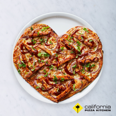 Heart-shaped pizzas are available at California Pizza Kitchen Feb. 11-16. Guests can order any pizza variety on the special crispy thin crust. (Photo: Business Wire)