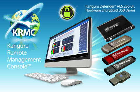 Kanguru Remote Management Console (KRMC) provides IT Security Administrators a robust solution to meet today's high-end data security demands. KRMC allows them to easily manage and monitor their encrypted USB devices containing sensitive data around the world. (Graphic: Business Wire)