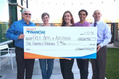 Pictured (LtoR): Jeff Meshey, President & CEO of Desert Financial, Cathy Graham, Executive Vice President of Desert Financial, Alicia Sutton Campbell, Executive Director of Free Arts, Adrian Rice, Free Arts Alumni, Vince Evans, Development Officer for Free Arts (Photo: Business Wire)
