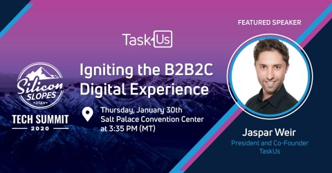 TaskUs President Jaspar Weir Speaks at Silicon Slopes Tech Summit. (Graphic: Business Wire)