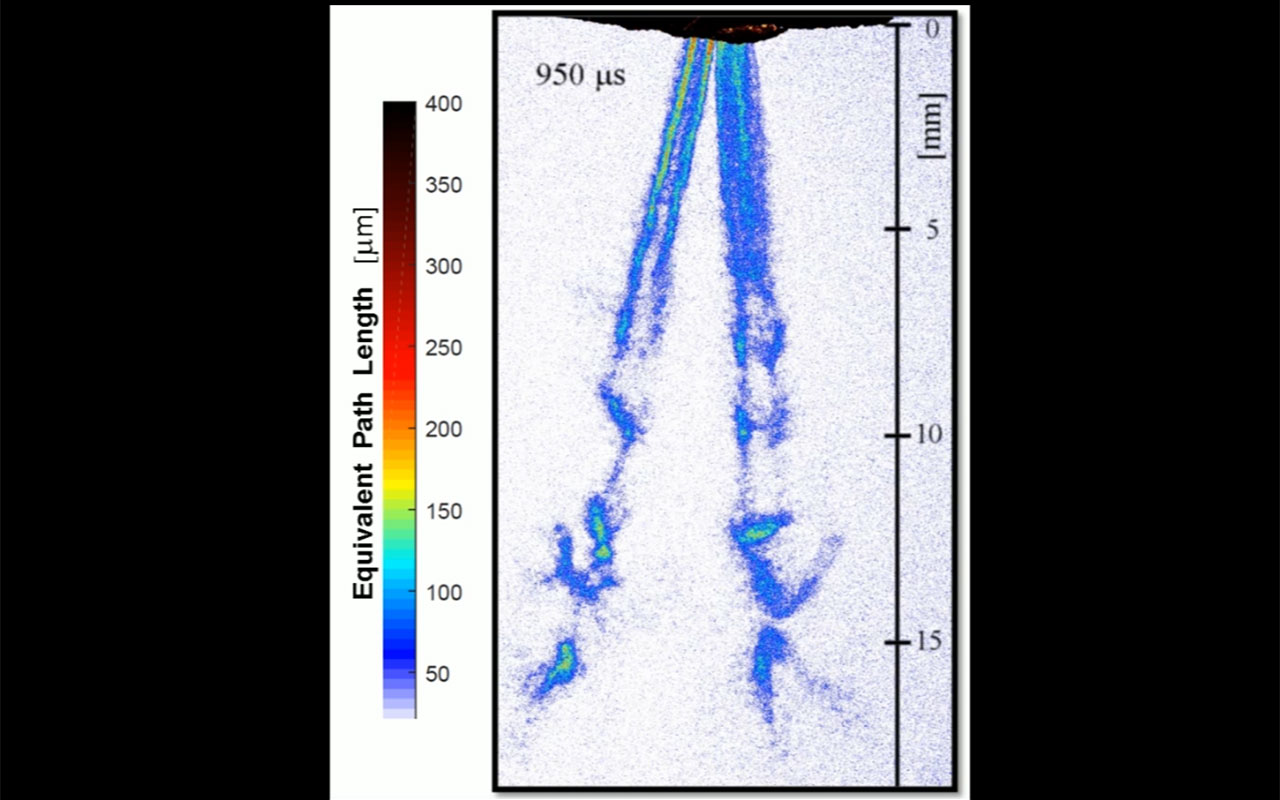 Researchers have, for the first time, combined x-ray and laser-induced fluorescence imaging to observe and quantify atomizing spray phenomena. They demonstrated the new approach by using it to capture detailed images of water jets created from an automotive fuel injector. Credit:  Edouard Berrocal, Lund University