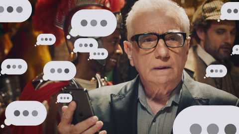 Martin Scorsese is consumed by the dreaded 'three dots' as he awaits Jonah Hill's decision about showing up to the costume party.  (Photo: Business Wire)