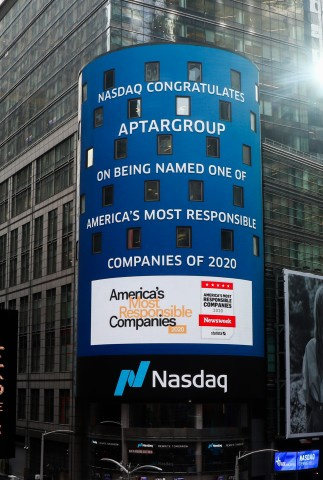 "Photo: Nasdaq Tower in NYC recognizing Aptar for being named one of ""America's Most Responsible Companies 2020"" by Newsweek"