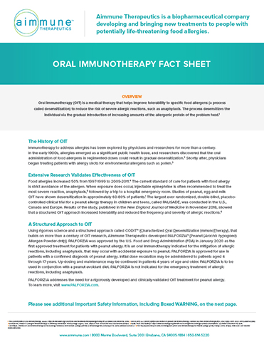 Oral Immunotherapy Backgrounder