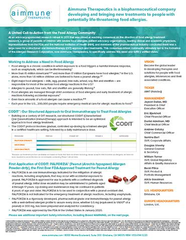 Aimmune Therapeutics Fact Sheet