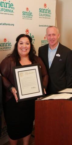 Alani Jackson Chief, Medi-Cal Dental Services Division and Sacramento Mayor Darrell Steinberg. (Photo: Business Wire)