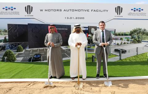 Ahmed bin Saeed laying foundation stone for W Motors Facility in Dubai Silicon Oasis (Photo: AETOSWire)