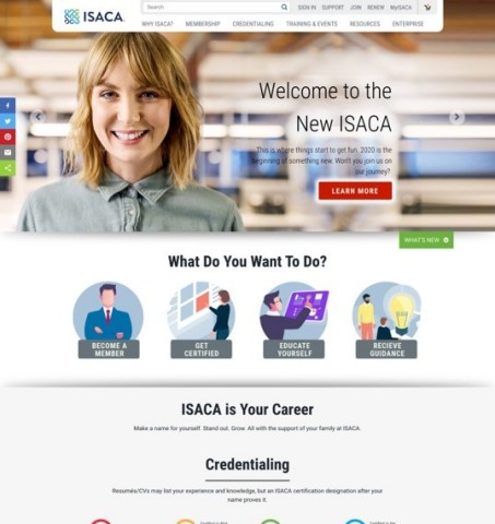 ISACA's revamped web presence will offer increased functionality, stronger security and improved user experience to better inform and connect the ISACA global professional community, as well as spotlight ISACA members in new and engaging ways. (Graphic: Business Wire)