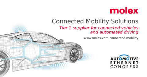Molex will showcase live demonstrations and highlight capabilities at the Automotive Ethernet Congress 2020 (Graphic: Business Wire)