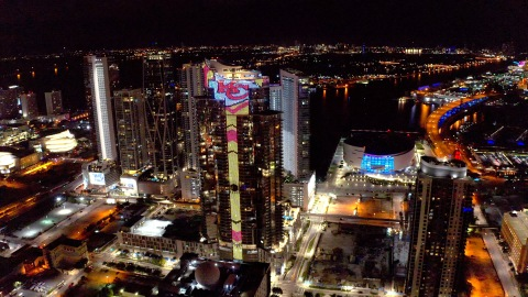 Paramount Miami Worldcenter, world's most-luxurious and futuristic residential tower with most-advanced LED animation system, glows with Kansas City Chiefs Arrowhead logo -- a soaring skyline salute to Super Bowl 54 champions.