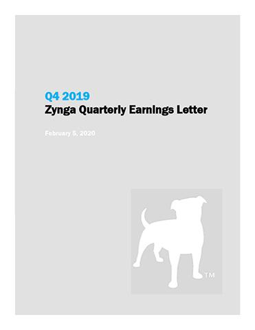 Q4 2019 Zynga Quarterly Earnings Letter