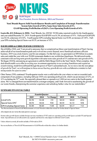 Yum! Brands Reports Solid Fourth-Quarter Results and Completion of Strategic Transformation; System Sales Growth of 10%; Same-Store Sales Growth of 2%; GAAP Operating Profit Decline of (26)%; Core Operating Profit Growth of 14%